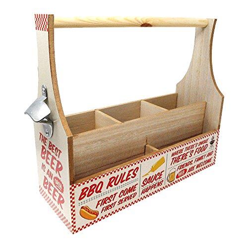 Ständer/Träger für Gewürze, Besteck und Saucen, mit Flaschenöffner, aus Holz, ideal für Grillfeste