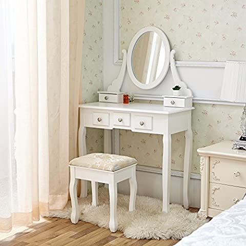 WV leisuremaster Bianco Tavolino da trucco con sgabello regolabile ovale specchio e cassetti, Camera da (Camera Ovale Dresser)