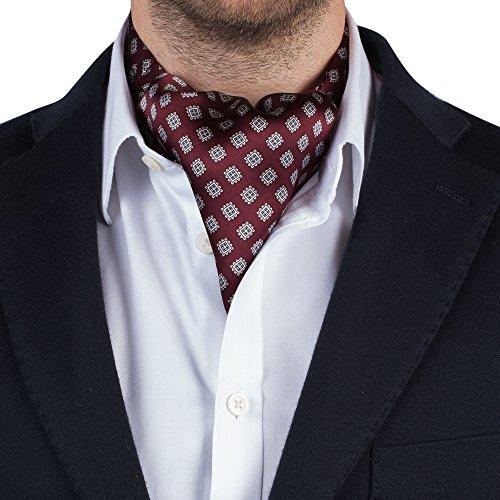 Silk Mens Cravat Ascot Tie (Maroon Jacquard)