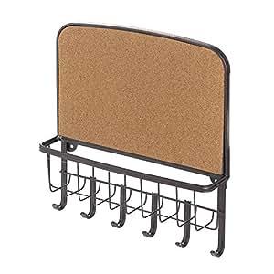 interdesign york lyra wandorganizer mit korktafel offener briefkorb mit schl sselbrett mit 6. Black Bedroom Furniture Sets. Home Design Ideas