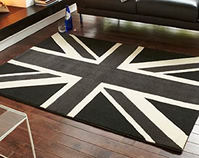 Union Jack Rug Grey Black Cream 120 x 170cm