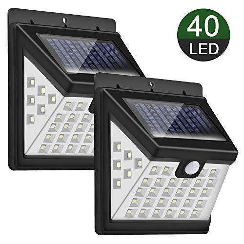 Luz Solar Exterior, Priksia 40 LEDs Foco Solar con Sensor de Movimiento Gran Ángulo 270º Impermeable Inalámbrico Lámpara Solar Solares de Pared de Seguridad 3 Modos para Jardín (2 Paquete)