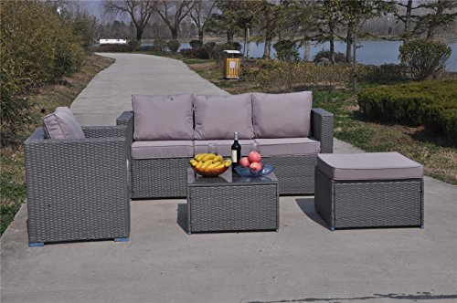 Yakoe 70010 182x65x71 cm New Rattan Garden Furniture Sofa Table Chairs Set  – Light Grey (1-) – Search Furniture