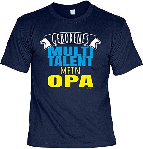 Geschenk für Opa T-Shirt Geborenes Multitalent mein Opa Geschenkidee Opa lustiges Shirt für Opa Vatertag Großvater Funshirt Navyblau