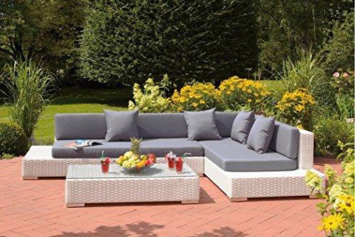 Au jardin de chloé - Grand mobilier canapé de jardin avec angle et table basse résine tressée Design - MELOEE BLANC - Blanc - 5 places