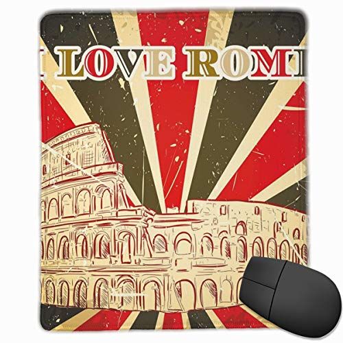 Bold X-ray (Mouse Mat Stitched Edges, I Love Rome Lettering With Circus Tent And Bold Stripes Ancient,Gaming Mouse Pad Non-Slip Rubber Base)