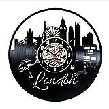 Orologio da Parete con Disco in Vinile Paesaggio Urbano di Londra Fresco e Moderno Musica retrò Arte Orologio Orologio al Quarzo Muto Decorazione della Parete Regalo Creativo