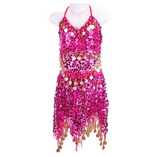 auchtanz-Kostüm für Mädchen, glitzernde Pailletten/Münzen, Oberteil und Rock (Besten Kleid Für Kinder)