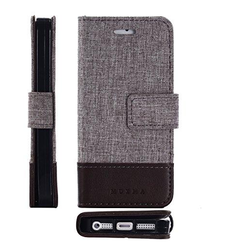 Meimeiwu Flip Custodia Deluxe Magnetico Portafoglio Custodia per passaporto in canvas e simil pelle Cover Case Per iPhone 5 5S SE - Marrone Marrone
