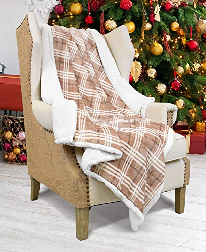 Catalonia Plaid Kariert Sherpa Decke Flauschige Kuscheldecke, Super weiche Fleece Sofadecke Plüsch-Flanell-Decke für Couch und Bett, wendbare TV-Decke, fürsorgliche Geschenk, 127x152cm, Plaid Latté
