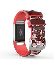 MoKo Fitbit Charge 2 Armband, [Muster Serie] Silikon Sportarmband Uhrenarmband Uhr Erstatzband für Charge 2 Smartwatch Zur Herzfrequenz und Fitnessaufzeichnung, Armbandlänge 145mm-210mm, Davidshirsch