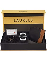 Laurels Analogue Black Dial Men's Watch, Wallet & Belt Combo - Cp-Inc-202-Tsk-0206-Vt-0209