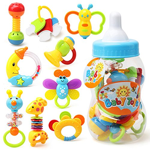 Dear Deer Babys First Rattle and Teether Toy 9 Pieces with Giant Baby Bottle Coin Bank Gift Sets - Non-Toxic, BPA, Latex and Phthalate Free Silicone Teethers 5``x13`` Big Size