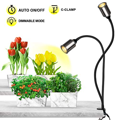 Bozily Pflanzenlampe, Auto On/Off Timing 3/6/12H, Pflanzenlicht Vollesspektrum, 4 Helligkeitsstufen, Flexibler Schwanenhal, für Zimmerpflanzen, Blumen, Gemüse (Pflanzen Maßnahmen)