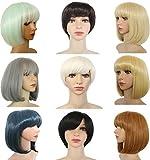 DODOING Short Wig Women Lady Girls Bob Wigs Hair Bob Middle Part Bob Wig Fashion/Party Short Straight Bang Hair Heat Resistant Full Wig - Platinum Blonde