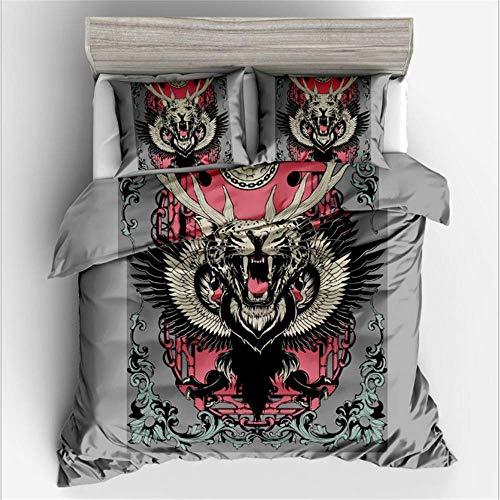 SHJIA Tier Gedruckt Königin Tröster Bettwäsche-Sets 3D Bettbezug Set Bettbezug Set D 135x200 cm