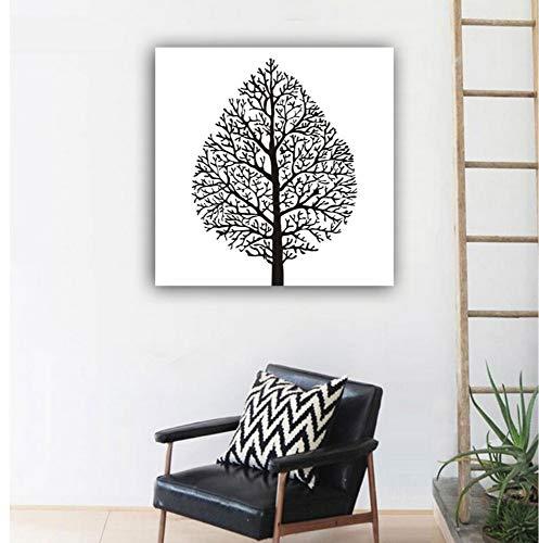 Wand ungerahmt Poster abstrakt Blatt schwarz rot weiß einfache Kunst Leben Leinwand Wandkunst Baum Ölgemälde für Wohnzimmer Dekor 60x60cm (Abstrakte Kunst Rot)