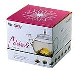 Feelino Celebrate Teeblumen-Geschenkset Zauber in der Tee-Kanne, mit Glas-Teekrug 700 ml und 8 hochwertigsten Teeblumen im farbigen Geschenkkarton