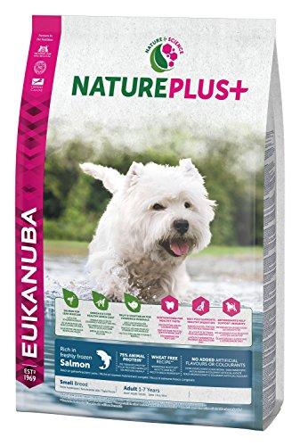 Eukanuba nature plus, cibo secco per cani adulti, senza frumento, taglia piccola, 1-6 anni, crocchette cani con salmone, senza frumento, 2,3 kg