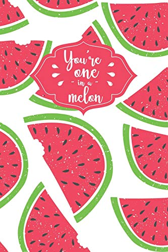 You're One In A Melon: Cute Watermelon Fruit Notebook - 120 Dot Grid Pages for Doodling, Drawing, Sketching or Journaling (Cake Topper Watermelon)