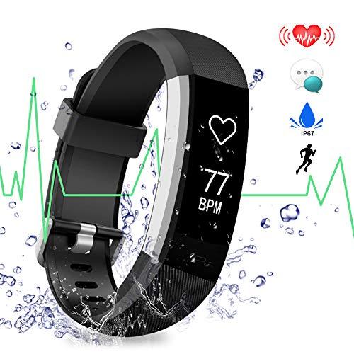 Fitness Tracker ANEKEN Activity Tracker Orologio Fitness Cardiofrequenzimetro da Polso Contapassi Impermeabile IP67 con Monitoraggio del Sonno Notifiche Chiamate e SMS Whatsapp Facebook per Donna Uomo