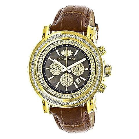 Large Diamond Bezel Watch for Men 2.5ct LUXURMAN Escalade Yellow Gold Plted