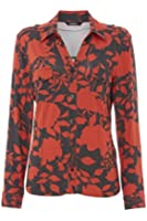 Roman Originals - Women's Floral Jersey Blouse - Bright Long Sleeved Smart Casual Shirt Top - Ladies Red Sizes 10-20