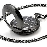 Infinite U Luna y Amor Pulido Números Romanos Acero Mano-viento Reloj de bolsillo mecánico Negro