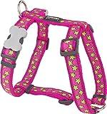 Red Dingo Desinger Dog Harness, Lime Stars on Hot Pink (15mm x Neck: 30-48cm / Body 36-54cm) S