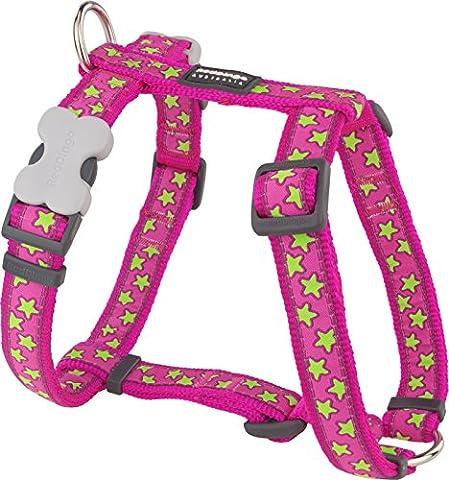 Red Dingo Designer Hundegeschirr, limettengrüne Sterne auf Hot Pink, 12mm