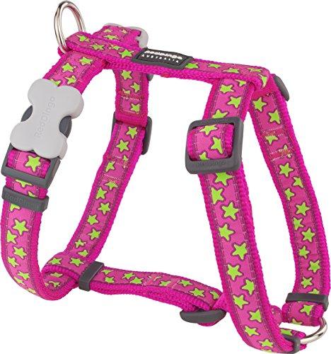 Red Dingo Designer Hundegeschirr, limettengrüne Sterne auf Hot Pink, 12mm x Halsumfang: 25-39cm / Körper 30-44cm Größe XS (Dingo-sterne-kragen Red)