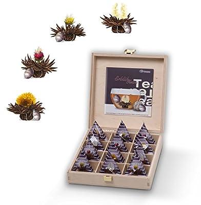 creano - Teelini fleuri Creano, thé noir, coffret cadeau dans le thé boîte en bois 12 Teelini fleuris ''thé noir''