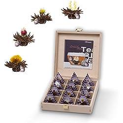 Creano Teelini Teeblumen im Tassenformat, Geschenkset in Teekiste aus Holz, 12 ErblühTeelini in 4 Sorten | Schwarzer Tee