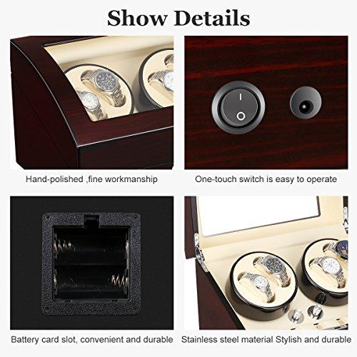 Excelvan New Quality Auto Watch Winder Luxury Automatic Watch Winder, Lxury Watch Winder Cases 4+6 Leather Storage Display Watch Winder Box Automatic Rotation