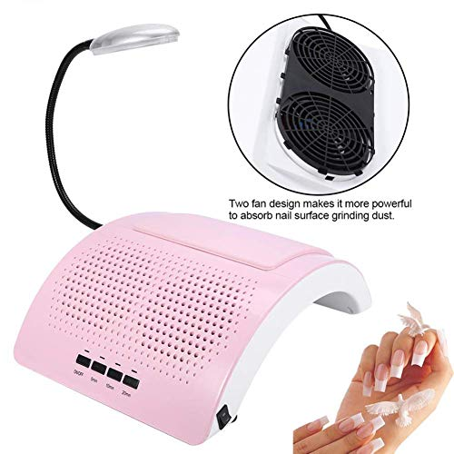 WLHMH 40 Watt Salon Zwei Fan Absaugung Staubsammler UV Gel Nagel Vakuum Trockner Nail Art Maniküre Maschine Staubsammler Werkzeug + LED-Licht -