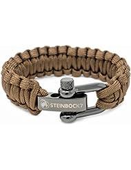 Steinbock7 Paracord Survival Armband, Edelstahl Verschluss Einstellbar, Inklusive Anleitung zum Flechten