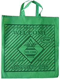 """PM Welcome Non Woven Shopping Bag (SIZE: 15"""" X 15""""-Inches) Green - 24 Pcs."""