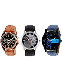 Matrix Multicolor Dial & Multicolor Leather Strap Analog Watches Combo for Men/Boys - Combo (Pack of 3) - (TRP-25)