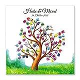 Madyes Leinwand Hochzeit Fingerabdruck Gästebuch Baum Personalisiert Tree & Birds für Das Brautpaar als Geschenk, Hochzeitsdekoration, Namen mit Datum. 50x50 cm groß auf Keilrahmen Holz
