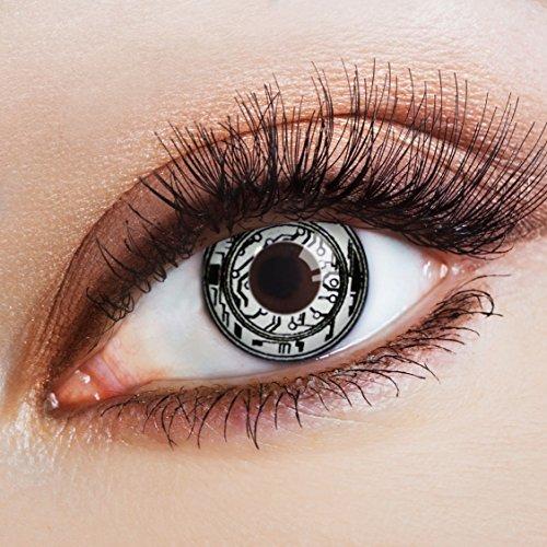 aricona Kontaktlinsen Farblinsen weiße Kontaktlinsen Steampunk Accessoires Halloween Kostüm