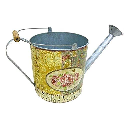 Better & Best 2361102 – Arrosoir de boite ronde, avec dessin de roses et mètre à ruban, bleu et jaune