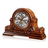 Nwn Rétro Horloge de Réveil Horloge de Manteau à Mouvement Silencieux de Style Européen 'Chime on Every Hour', Brun (18.1 * 4.3 * 12.2 in)