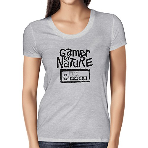 NERDO - Gamer By Nature - Damen T-Shirt Grau Meliert