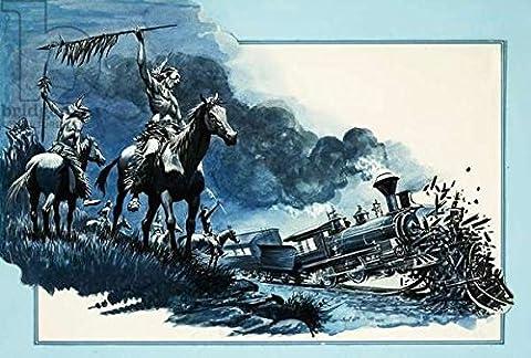 "Leinwand-Bild 30 x 20 cm: ""Cheyenne braves cause a train wreck"", Bild auf Leinwand"