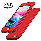 Luckydeer Coque iPhone Se / 5s / 5 et en Verre Trempé, Rouge (4,0 Pouces)