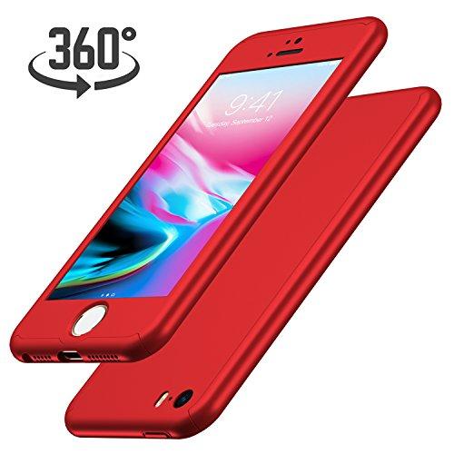 Luckydeer iPhone SE Hülle mit [1x Panzerglas Schutzfolie](Rot 4,0 Zoll)