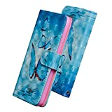HUDDU Compatible for Schmetterling Handyhülle LG K10 2018 Hülle Flip Wallet Case Ledertasche Kartenfach Magnet Stand Lederhülle Etui Handy Cover Schutzhülle Tasche Leder Klapphülle Blau - 3D Design