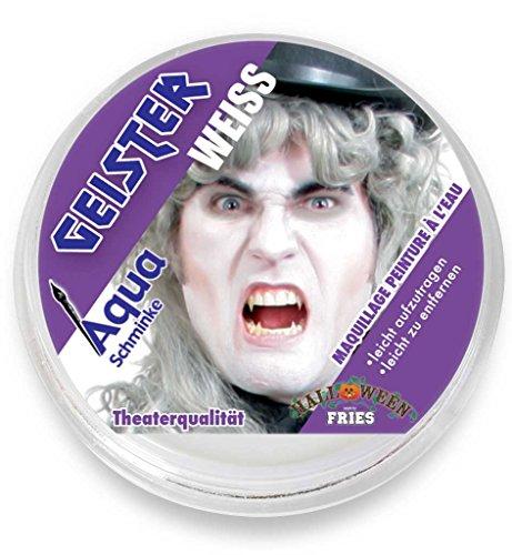 PARTY DISCOUNT ® Aqua-Schminke in Theaterqualität, mehrere Farben, Fasching + Halloween (Geister-weiß)