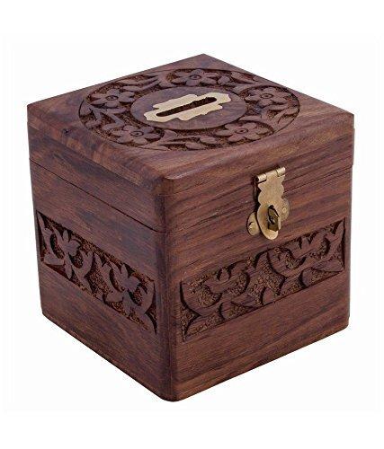 Le monete di legno Storage Box, Money Bank con intagli e serratura. salvadanaio per i bambini, Thanks Giving o regalo di