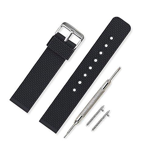 Vinband Bracelet Montre Haute Qualité Imperméable Remplacer Silicone Bracelet Montre Homme Femme Noir - 18mm, 20mm, 22mm, 24mm Caoutchouc Montre Bracelet avec Quick Release Pins (18mm, Noir)